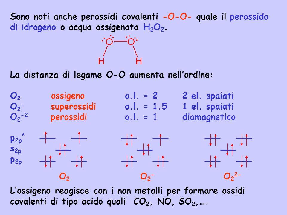 Sono noti anche perossidi covalenti -O-O- quale il perossido di idrogeno o acqua ossigenata H 2 O 2. La distanza di legame O-O aumenta nellordine: O 2