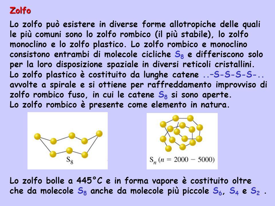 Zolfo Lo zolfo può esistere in diverse forme allotropiche delle quali le più comuni sono lo zolfo rombico (il più stabile), lo zolfo monoclino e lo zo