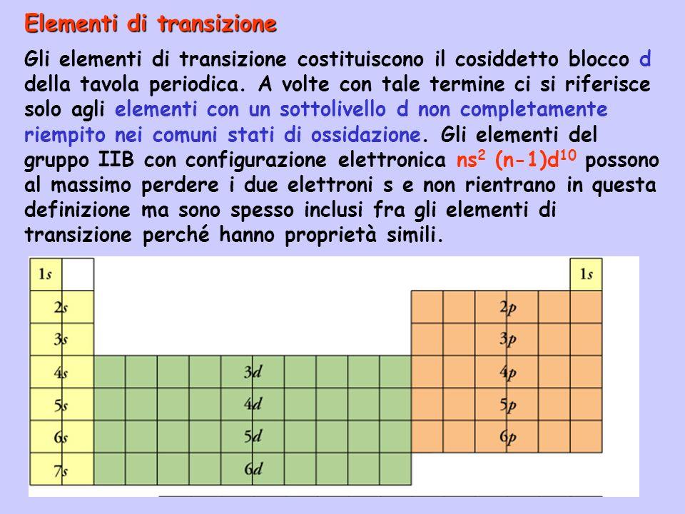 Elementi di transizione Gli elementi di transizione costituiscono il cosiddetto blocco d della tavola periodica. A volte con tale termine ci si riferi