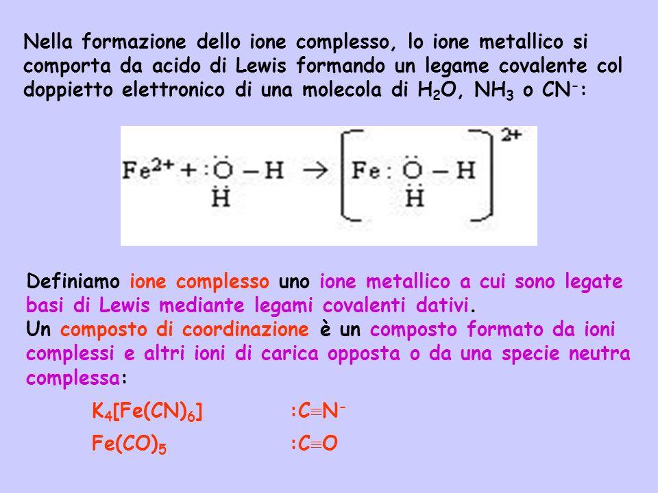 Nella formazione dello ione complesso, lo ione metallico si comporta da acido di Lewis formando un legame covalente col doppietto elettronico di una m