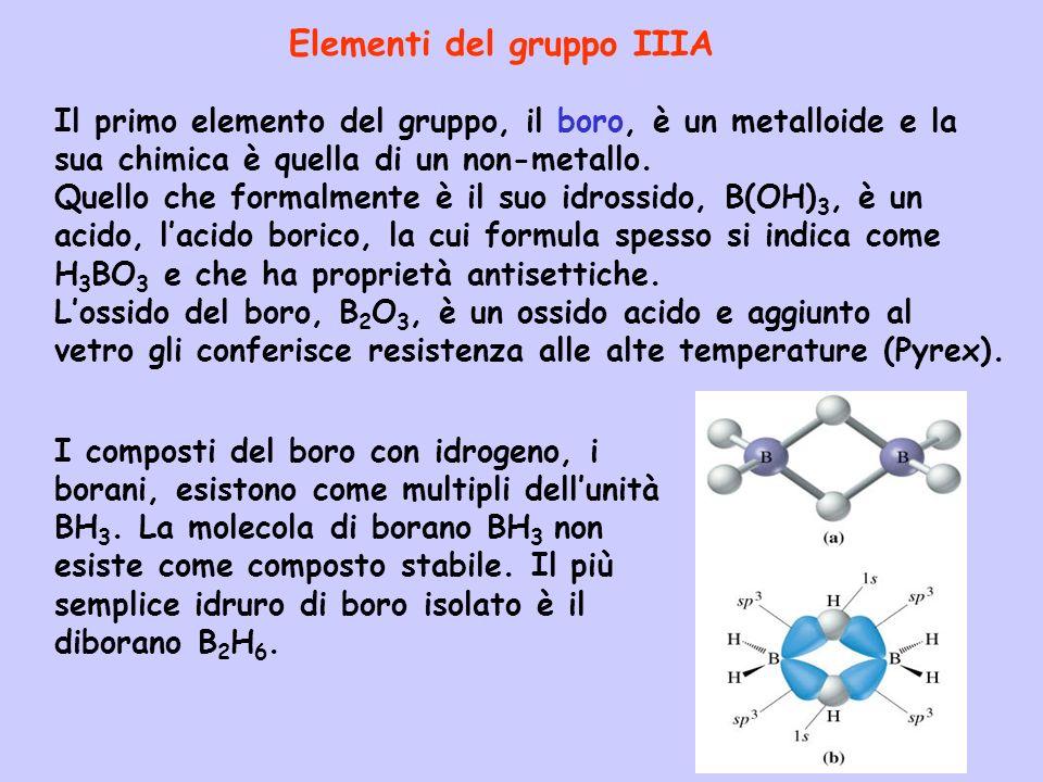 Il primo elemento del gruppo, il boro, è un metalloide e la sua chimica è quella di un non-metallo.