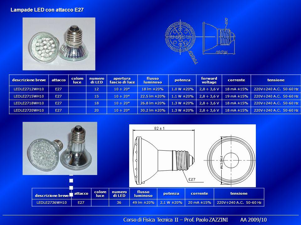 descrizione breve attacco colore luce numero di LED apertura fascio di luce flusso luminoso potenza forward voltage correntetensione LEDLE2712WH10E27