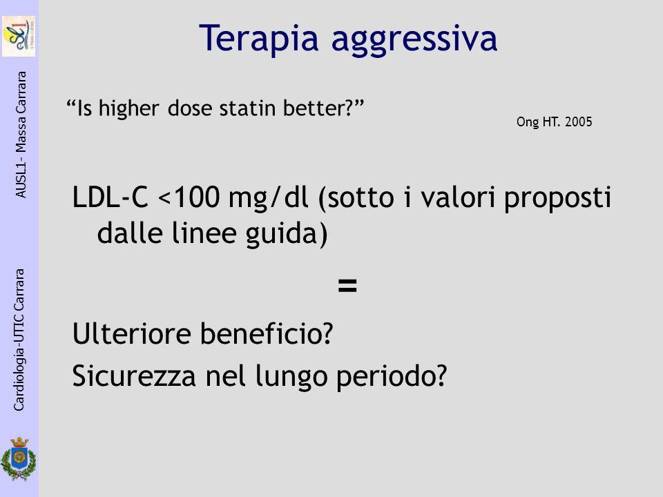 LDL-C <100 mg/dl (sotto i valori proposti dalle linee guida) = Ulteriore beneficio? Sicurezza nel lungo periodo? Cardiologia-UTIC Carrara AUSL1- Massa