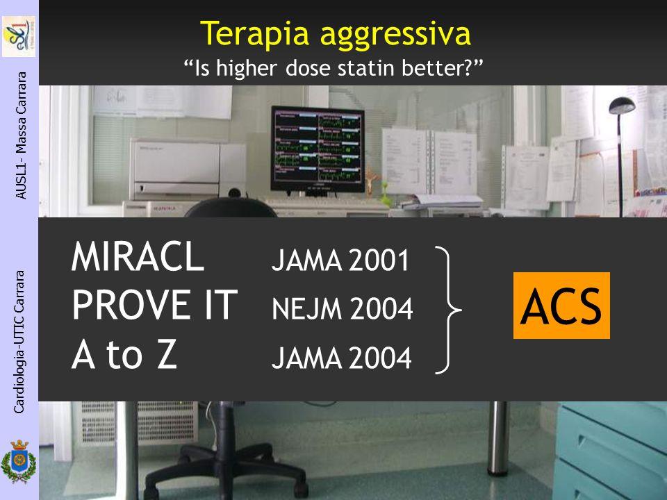 Cardiologia-UTIC Carrara AUSL1- Massa Carrara Is higher dose statin better? Terapia aggressiva MIRACL JAMA 2001 PROVE IT NEJM 2004 A to Z JAMA 2004 AC