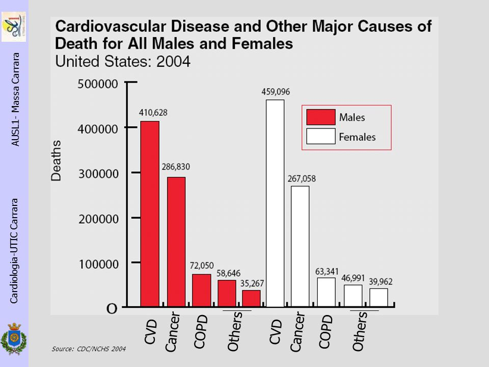 Cardiologia-UTIC Carrara AUSL1- Massa Carrara CVD Cancer COPD Others CVD Cancer COPD Others Source: CDC/NCHS 2004