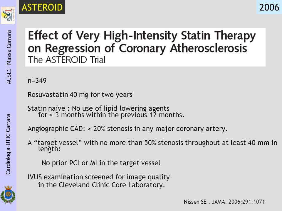 n=349 Rosuvastatin 40 mg for two years Statin naïve : No use of lipid lowering agents for > 3 months within the previous 12 months. Angiographic CAD: