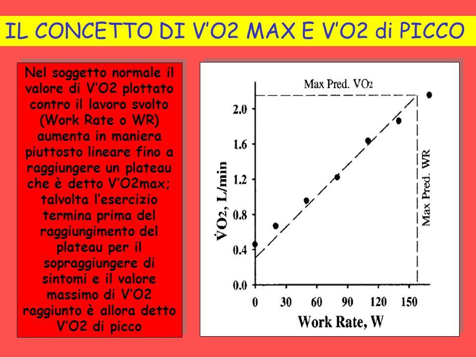 Nel soggetto normale il valore di VO2 plottato contro il lavoro svolto (Work Rate o WR) aumenta in maniera piuttosto lineare fino a raggiungere un pla