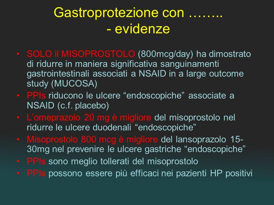 Gastroprotezione con …….. - evidenze SOLO il MISOPROSTOLO (800mcg/day) ha dimostrato di ridurre in maniera significativa sanguinamenti gastrointestina