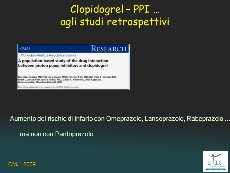 Clopidogrel – PPI … agli studi retrospettivi Aumento del rischio di infarto con Omeprazolo, Lansoprazolo, Rabeprazolo … …. ma non con Pantoprazolo. CM