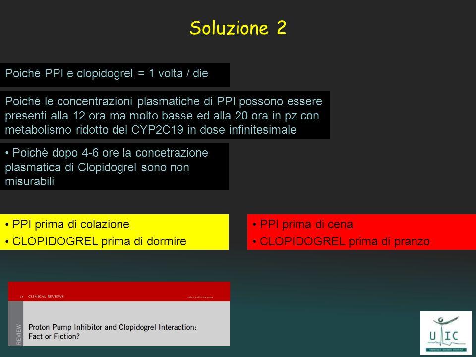 Soluzione 2 Poichè PPI e clopidogrel = 1 volta / die Poichè dopo 4-6 ore la concetrazione plasmatica di Clopidogrel sono non misurabili PPI prima di c