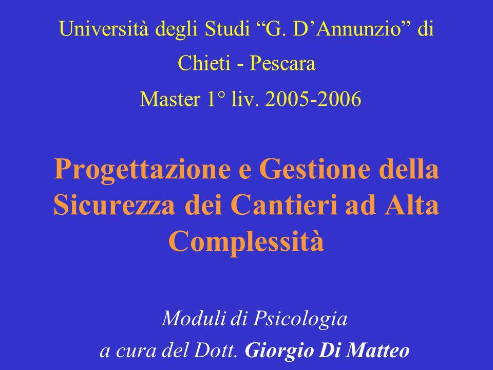 Università degli Studi G. DAnnunzio di Chieti - Pescara Master 1° liv. 2005-2006 Progettazione e Gestione della Sicurezza dei Cantieri ad Alta Comples