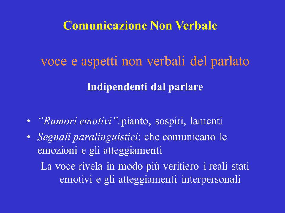 Indipendenti dal parlare Rumori emotivi:pianto, sospiri, lamenti Segnali paralinguistici: che comunicano le emozioni e gli atteggiamenti La voce rivel