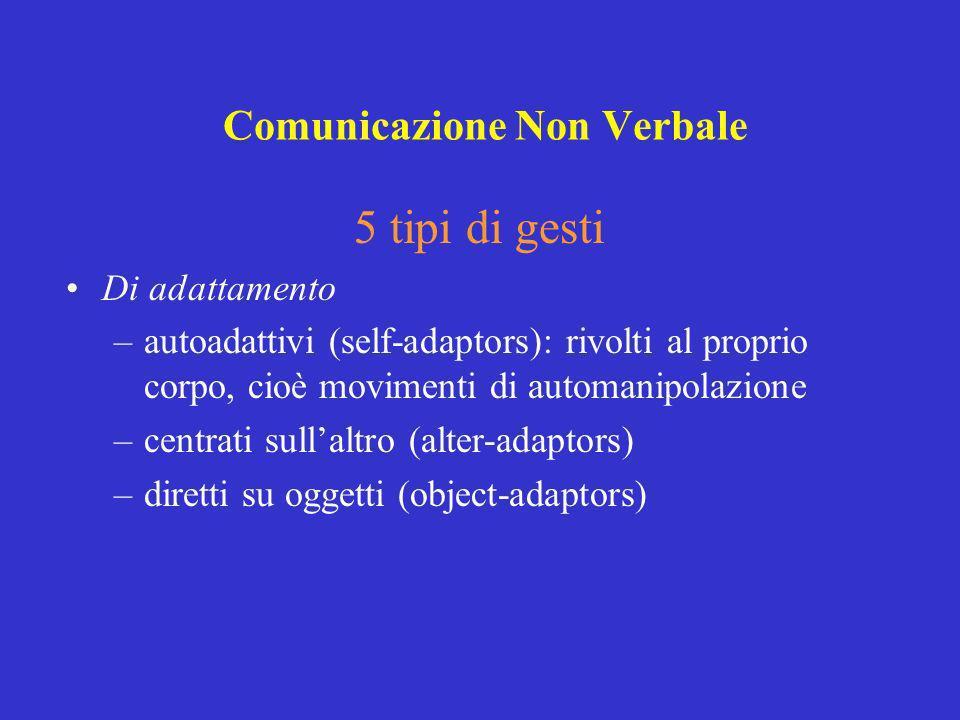 5 tipi di gesti Di adattamento –autoadattivi (self-adaptors): rivolti al proprio corpo, cioè movimenti di automanipolazione –centrati sullaltro (alter