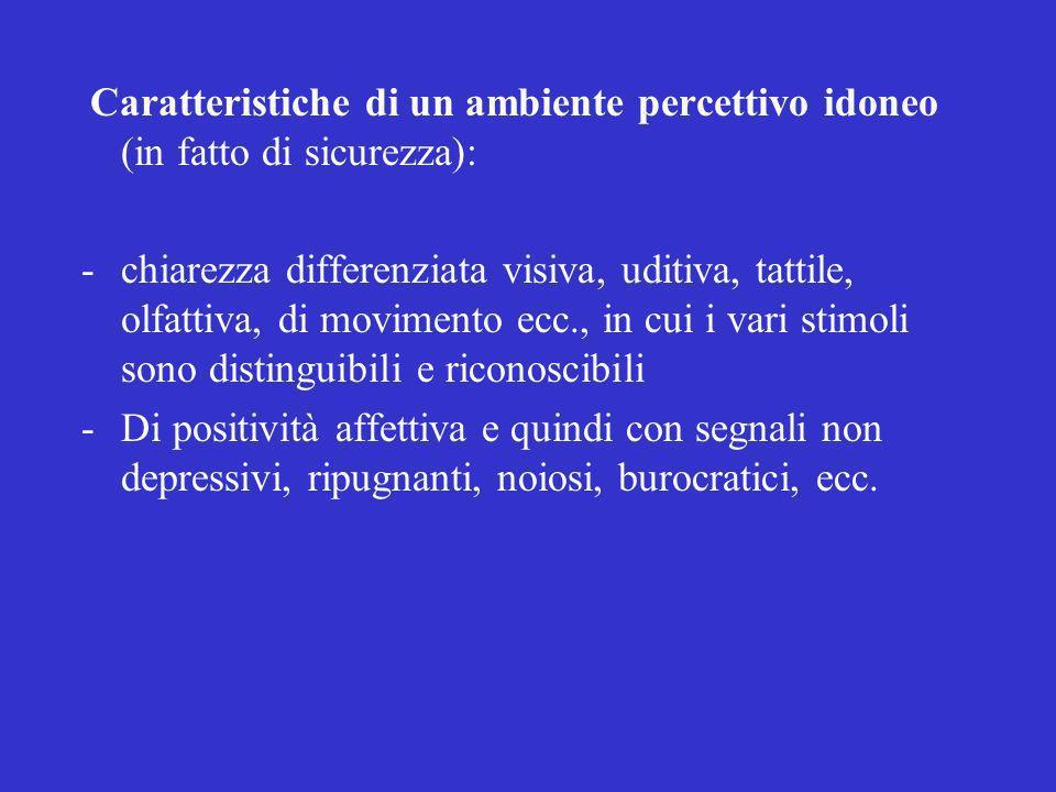 Caratteristiche di un ambiente percettivo idoneo (in fatto di sicurezza): -chiarezza differenziata visiva, uditiva, tattile, olfattiva, di movimento e