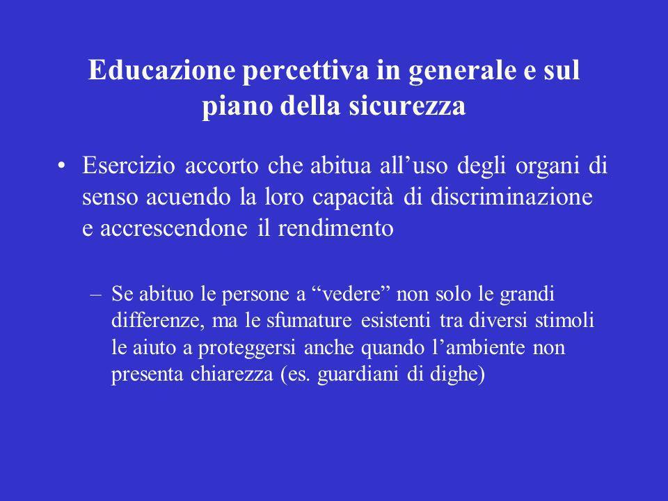 Educazione percettiva in generale e sul piano della sicurezza Esercizio accorto che abitua alluso degli organi di senso acuendo la loro capacità di di