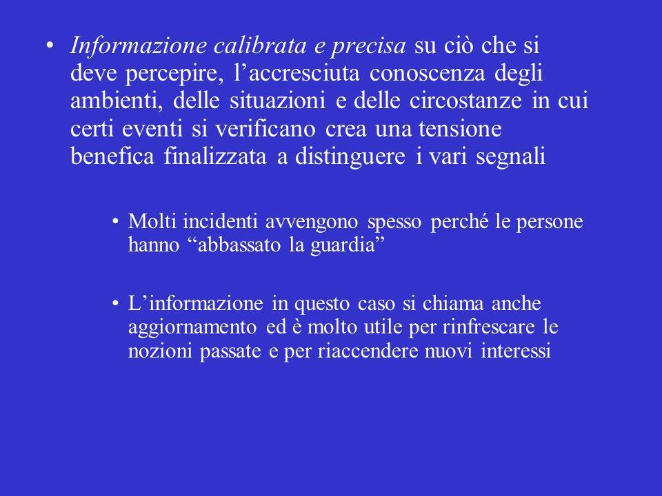 Informazione calibrata e precisa su ciò che si deve percepire, laccresciuta conoscenza degli ambienti, delle situazioni e delle circostanze in cui cer