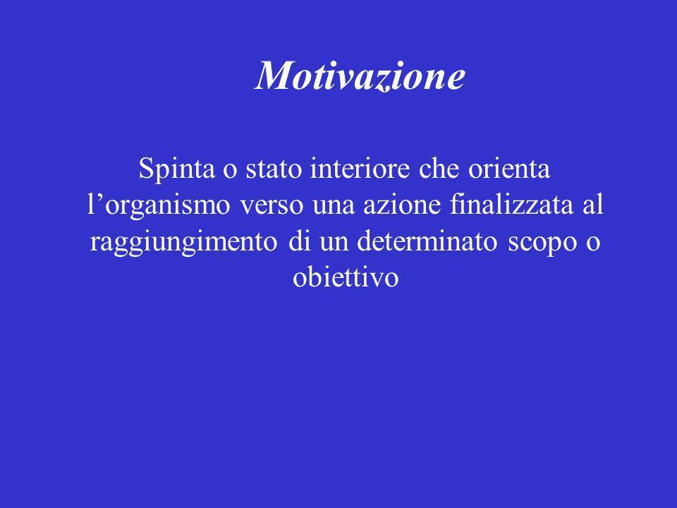 Motivazione Spinta o stato interiore che orienta lorganismo verso una azione finalizzata al raggiungimento di un determinato scopo o obiettivo