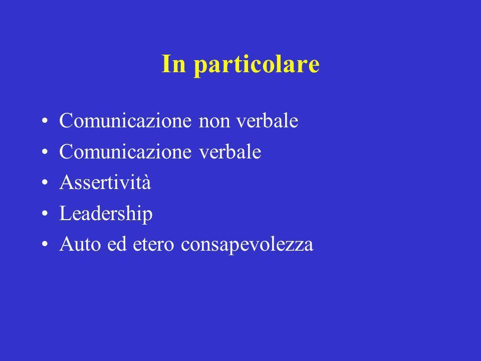 In particolare Comunicazione non verbale Comunicazione verbale Assertività Leadership Auto ed etero consapevolezza