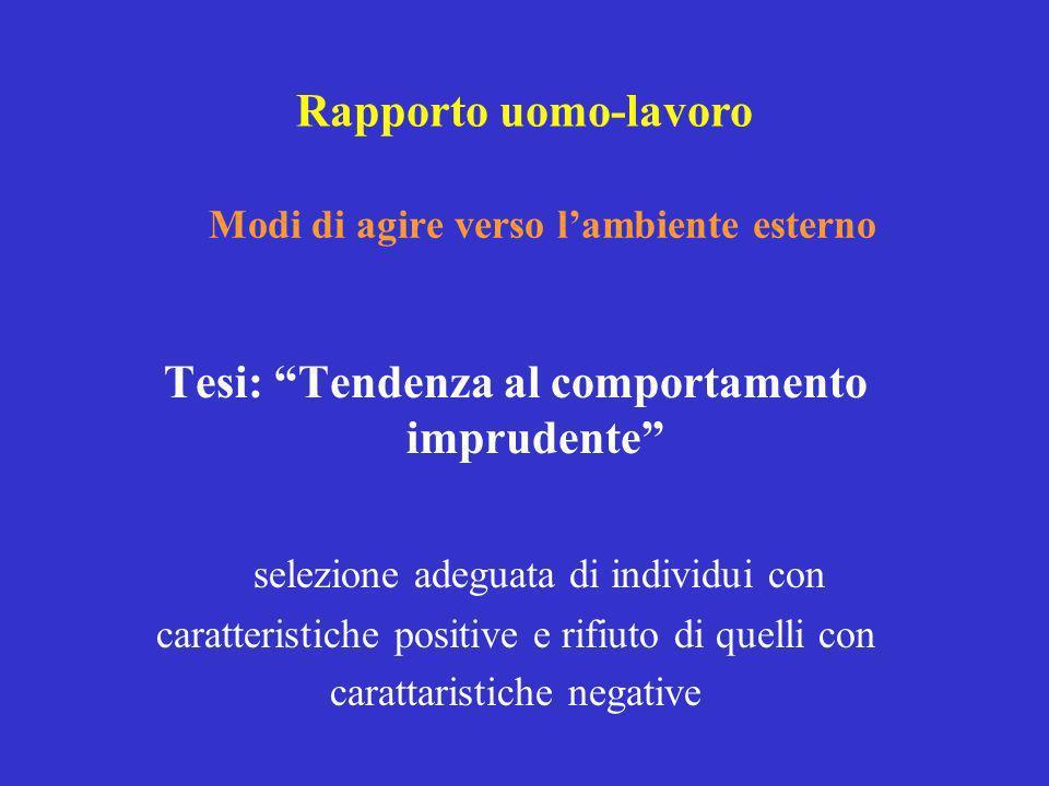 Tesi: Tendenza al comportamento imprudente selezione adeguata di individui con caratteristiche positive e rifiuto di quelli con carattaristiche negati