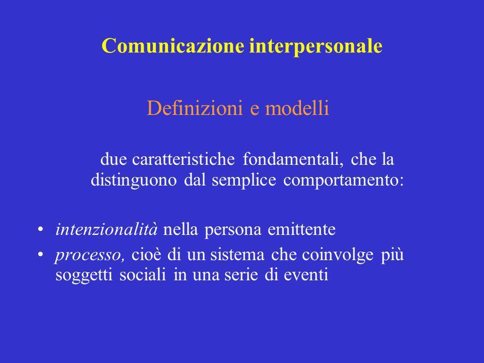 Comunicazione interpersonale Definizioni e modelli due caratteristiche fondamentali, che la distinguono dal semplice comportamento: intenzionalità nel