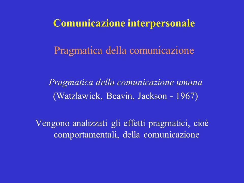Pragmatica della comunicazione Pragmatica della comunicazione umana (Watzlawick, Beavin, Jackson - 1967) Vengono analizzati gli effetti pragmatici, ci