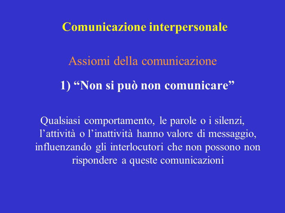 Assiomi della comunicazione 1) Non si può non comunicare Qualsiasi comportamento, le parole o i silenzi, lattività o linattività hanno valore di messa