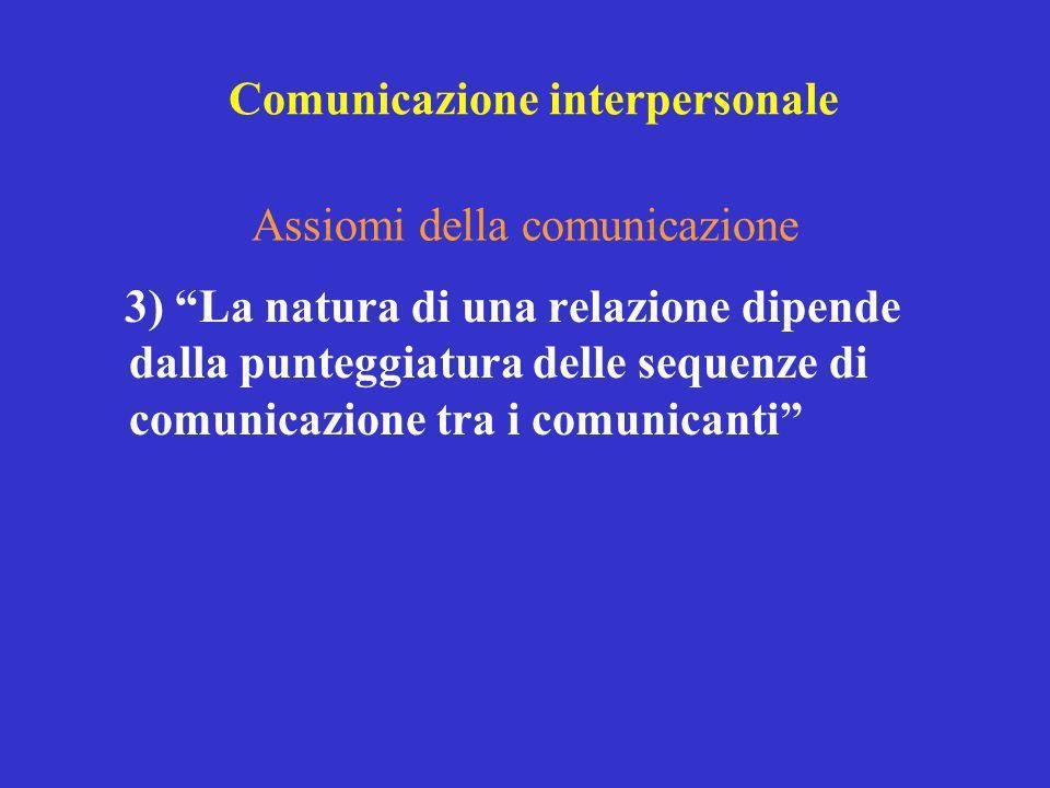 3) La natura di una relazione dipende dalla punteggiatura delle sequenze di comunicazione tra i comunicanti Assiomi della comunicazione Comunicazione