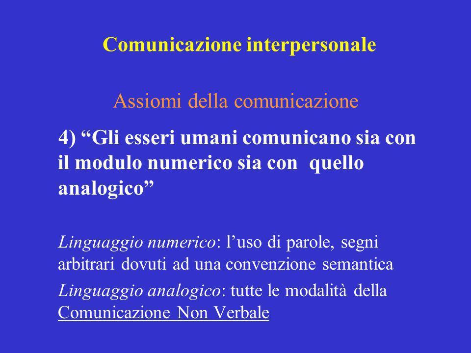 4) Gli esseri umani comunicano sia con il modulo numerico sia con quello analogico Linguaggio numerico: luso di parole, segni arbitrari dovuti ad una