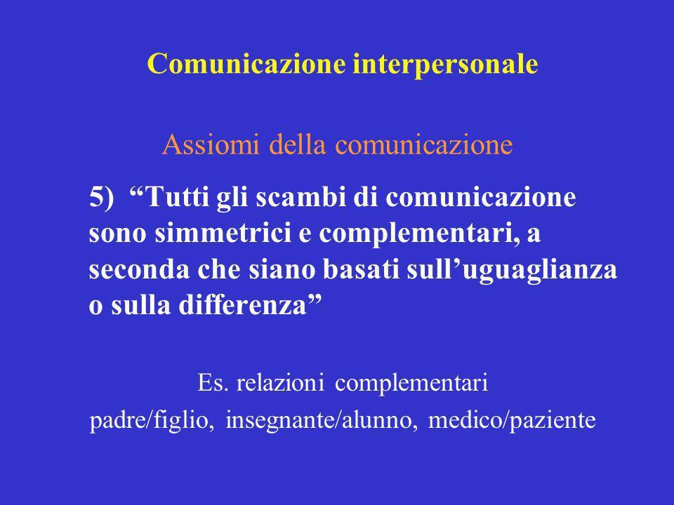 5) Tutti gli scambi di comunicazione sono simmetrici e complementari, a seconda che siano basati sulluguaglianza o sulla differenza Es. relazioni comp