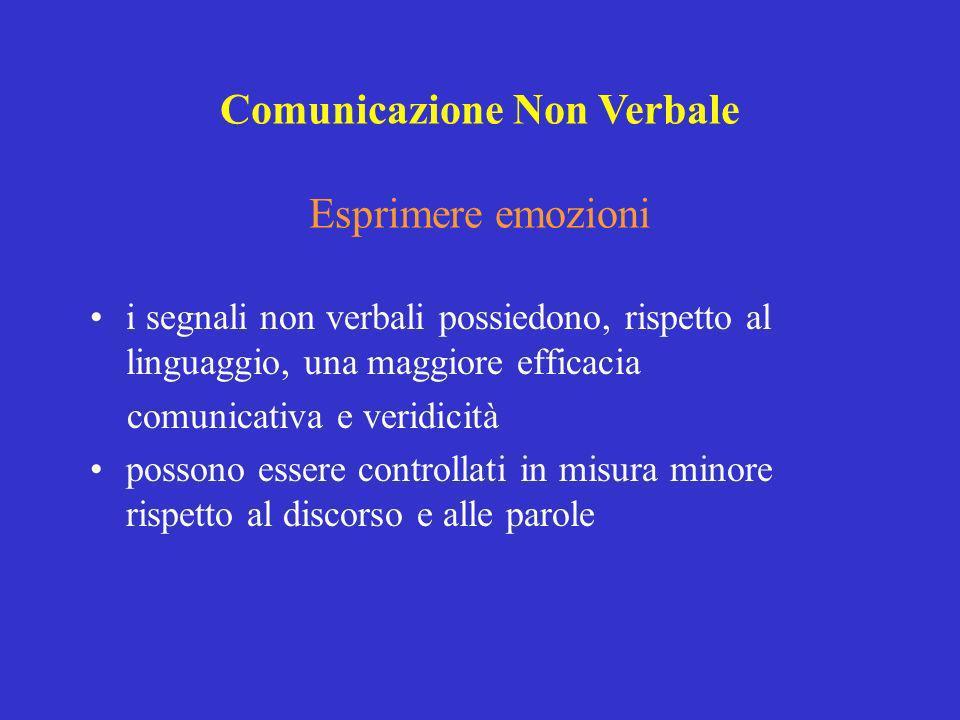 i segnali non verbali possiedono, rispetto al linguaggio, una maggiore efficacia comunicativa e veridicità possono essere controllati in misura minore