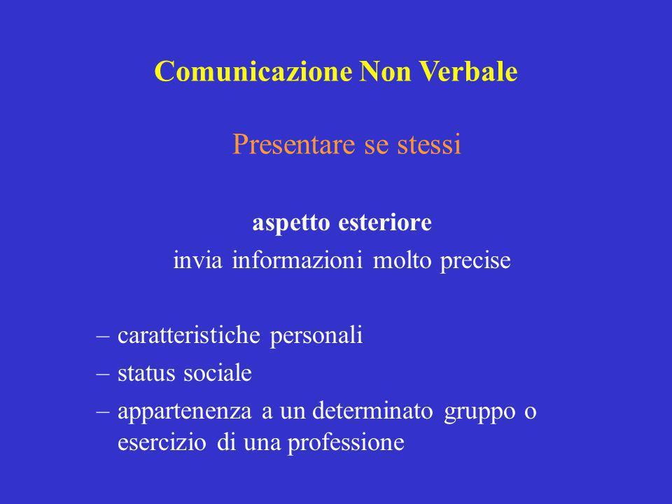 Presentare se stessi aspetto esteriore invia informazioni molto precise –caratteristiche personali –status sociale –appartenenza a un determinato grup