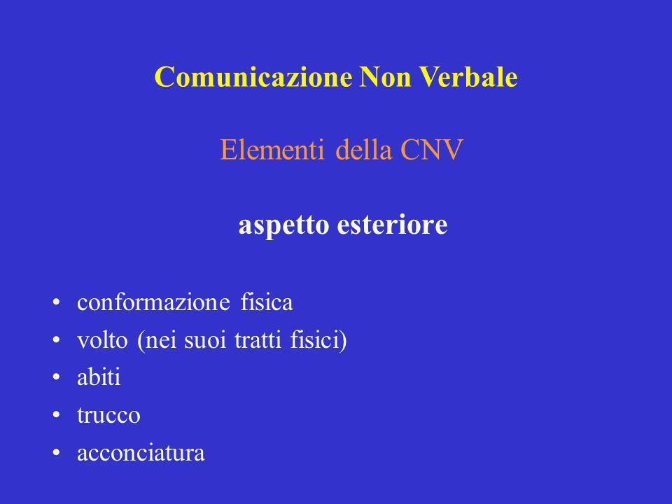 Elementi della CNV aspetto esteriore conformazione fisica volto (nei suoi tratti fisici) abiti trucco acconciatura Comunicazione Non Verbale