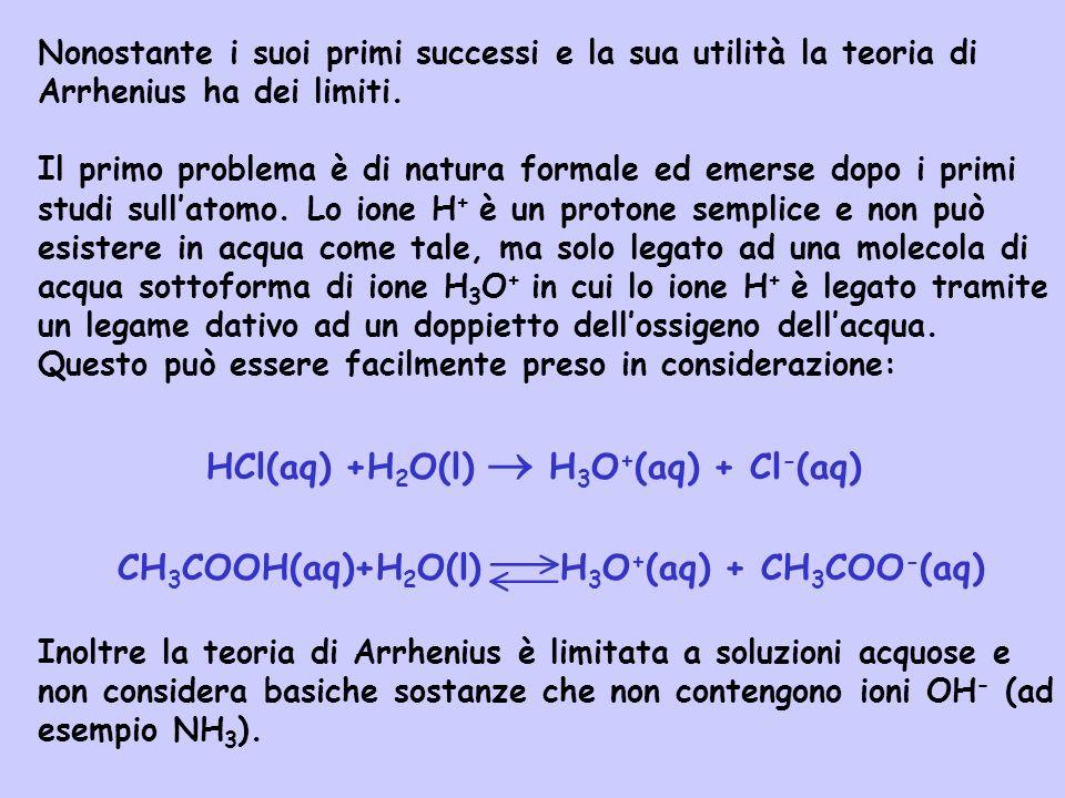 Nonostante i suoi primi successi e la sua utilità la teoria di Arrhenius ha dei limiti. Il primo problema è di natura formale ed emerse dopo i primi s