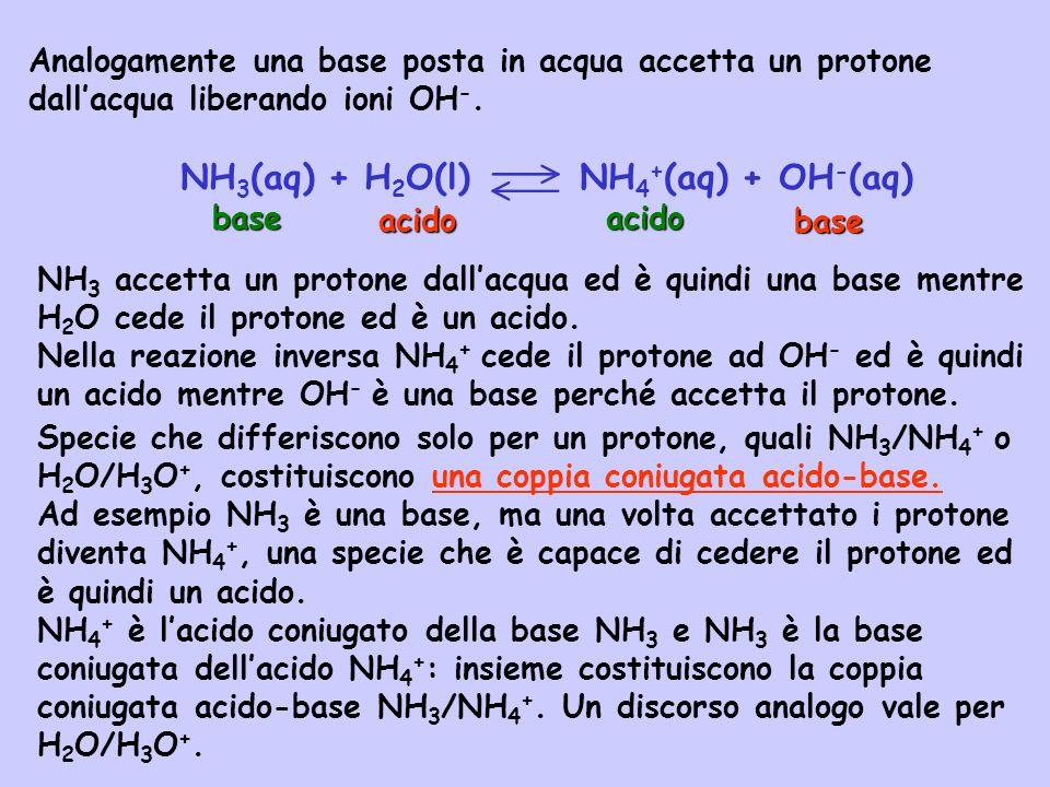 NH 3 (aq) + H 2 O(l) NH 4 + (aq) + OH - (aq) Analogamente una base posta in acqua accetta un protone dallacqua liberando ioni OH -. acido base NH 3 ac