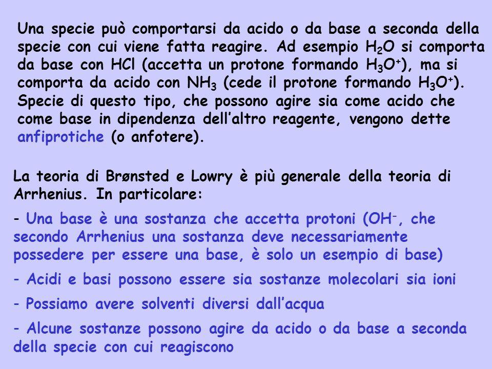 La teoria di Brønsted e Lowry è più generale della teoria di Arrhenius. In particolare: - Una base è una sostanza che accetta protoni (OH -, che secon
