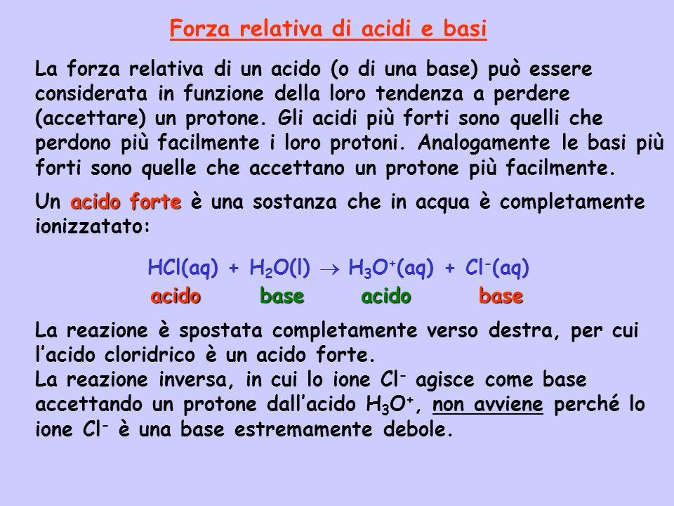 La forza relativa di un acido (o di una base) può essere considerata in funzione della loro tendenza a perdere (accettare) un protone. Gli acidi più f