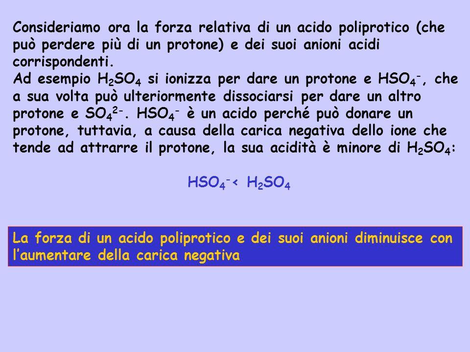 Consideriamo ora la forza relativa di un acido poliprotico (che può perdere più di un protone) e dei suoi anioni acidi corrispondenti. Ad esempio H 2