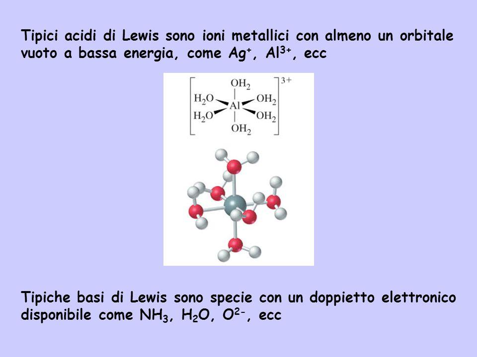 Tipici acidi di Lewis sono ioni metallici con almeno un orbitale vuoto a bassa energia, come Ag +, Al 3+, ecc Tipiche basi di Lewis sono specie con un
