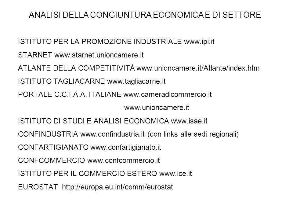 ISTITUTO PER LA PROMOZIONE INDUSTRIALE www.ipi.it STARNET www.starnet.unioncamere.it ATLANTE DELLA COMPETITIVITÀ www.unioncamere.it/Atlante/index.htm ISTITUTO TAGLIACARNE www.tagliacarne.it PORTALE C.C.I.A.A.