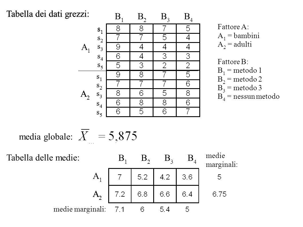 B1B1 s1s1 s2s2 s3s3 s4s4 s5s5 s1s1 s2s2 s3s3 s4s4 s5s5 B4B4 A1A1 A2A2 Tabella dei dati grezzi: media globale: s1s1 s2s2 s3s3 s4s4 s5s5 s1s1 s2s2 s3s3
