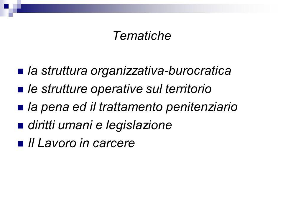 Tematiche la struttura organizzativa-burocratica le strutture operative sul territorio la pena ed il trattamento penitenziario diritti umani e legislazione Il Lavoro in carcere
