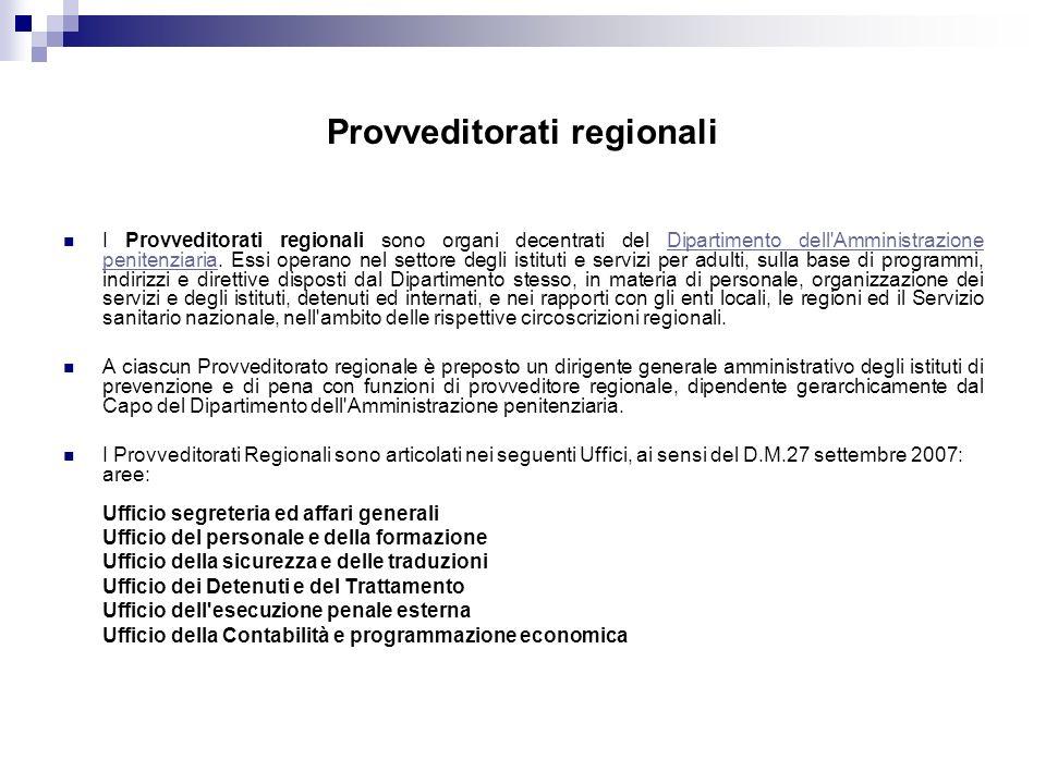 Provveditorati regionali I Provveditorati regionali sono organi decentrati del Dipartimento dell Amministrazione penitenziaria.