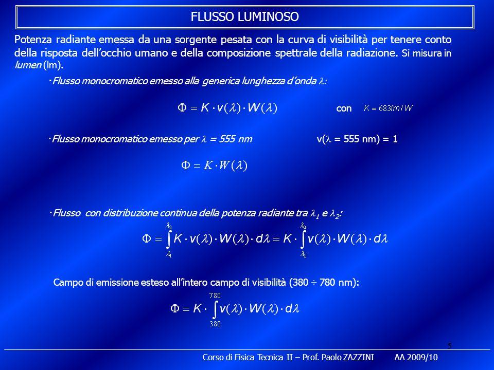5 Corso di Fisica Tecnica II – Prof. Paolo ZAZZINI AA 2009/10 FLUSSO LUMINOSO Potenza radiante emessa da una sorgente pesata con la curva di visibilit