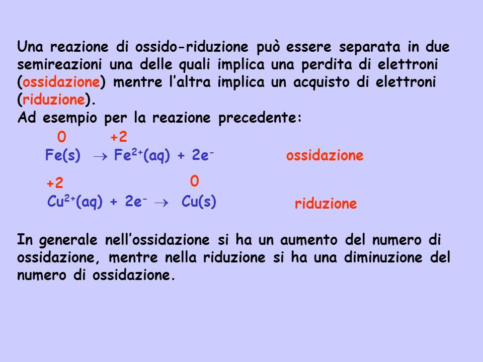 Una reazione di ossido-riduzione può essere separata in due semireazioni una delle quali implica una perdita di elettroni (ossidazione) mentre laltra