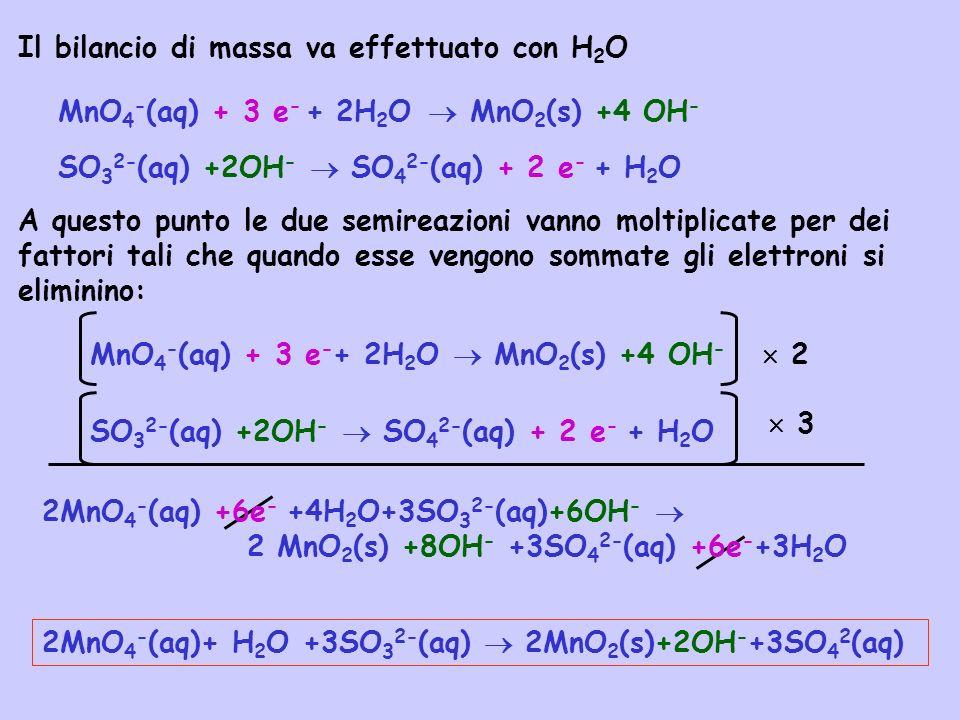 Il bilancio di massa va effettuato con H 2 O + 2H 2 O A questo punto le due semireazioni vanno moltiplicate per dei fattori tali che quando esse vengo