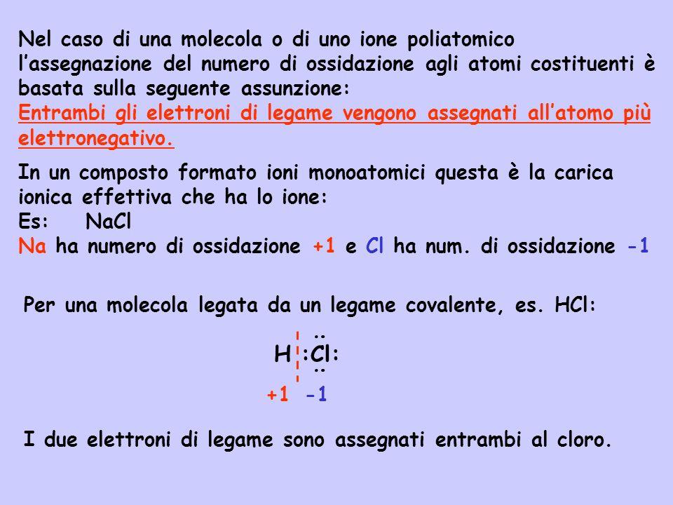 Se gli atomi di un legame sono dello stesso elemento, i due elettroni di legame sono assegnati uno ad ogni atomo: :Cl:Cl: : : : : Non è però necessario conoscere la formula di Lewis di una data molecola per assegnare i numeri di ossidazione ai vari atomi che la compongono.
