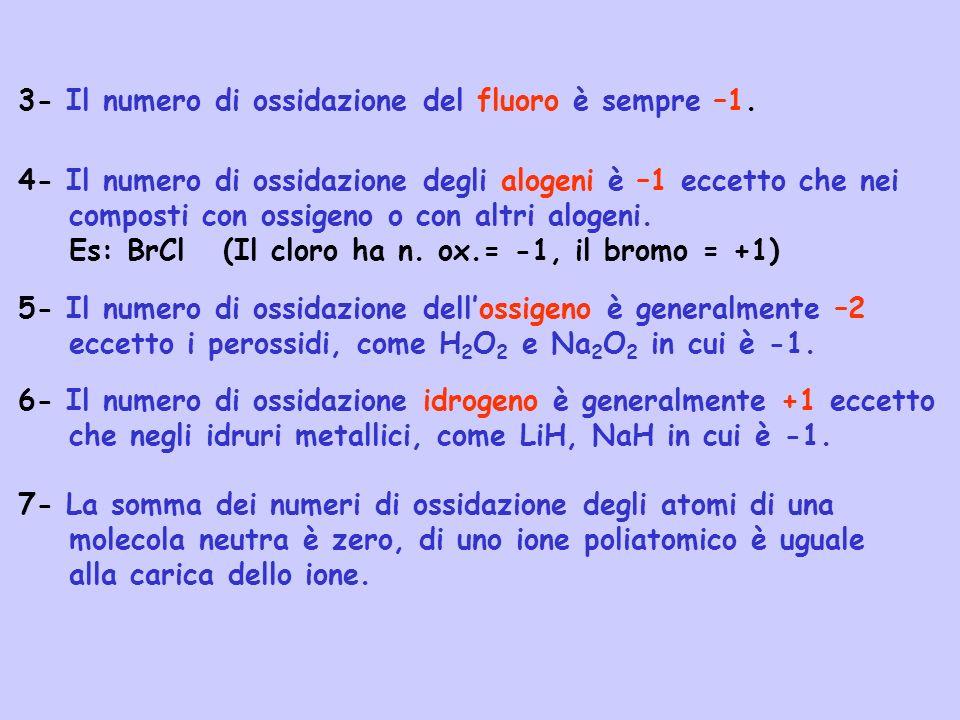 Fe 2+ (aq) Fe 3+ (aq) + 1 e - Il bilancio di massa va effettuato con H 2 O MnO 4 - (aq) + 5 e - + 8H + Mn 2+ (aq) + 4H 2 O A questo punto le due semireazioni vanno moltiplicate per dei fattori tali che quando esse vengono sommate gli elettroni si eliminino: MnO 4 - (aq) + 5 e - + 8H + Mn 2+ (aq) + 4H 2 O 1 5 MnO 4 - (aq)+5e - +8H + +5Fe 2+ (aq) Mn 2+ (aq)+4H 2 O+5Fe 3+ (aq)+ 5e - MnO 4 - (aq)+8H + +5Fe 2+ (aq) Mn 2+ (aq)+4H 2 O+5Fe 3+ (aq)