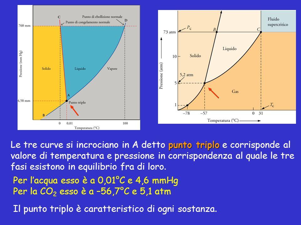 punto triplo Le tre curve si incrociano in A detto punto triplo e corrisponde al valore di temperatura e pressione in corrispondenza al quale le tre f