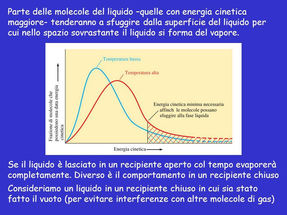 punto critico La curva di equilibrio liquido-gas termina in un punto detto punto critico (C in figura) caratterizzato da una temperatura critica T C ed una pressione critica P C.
