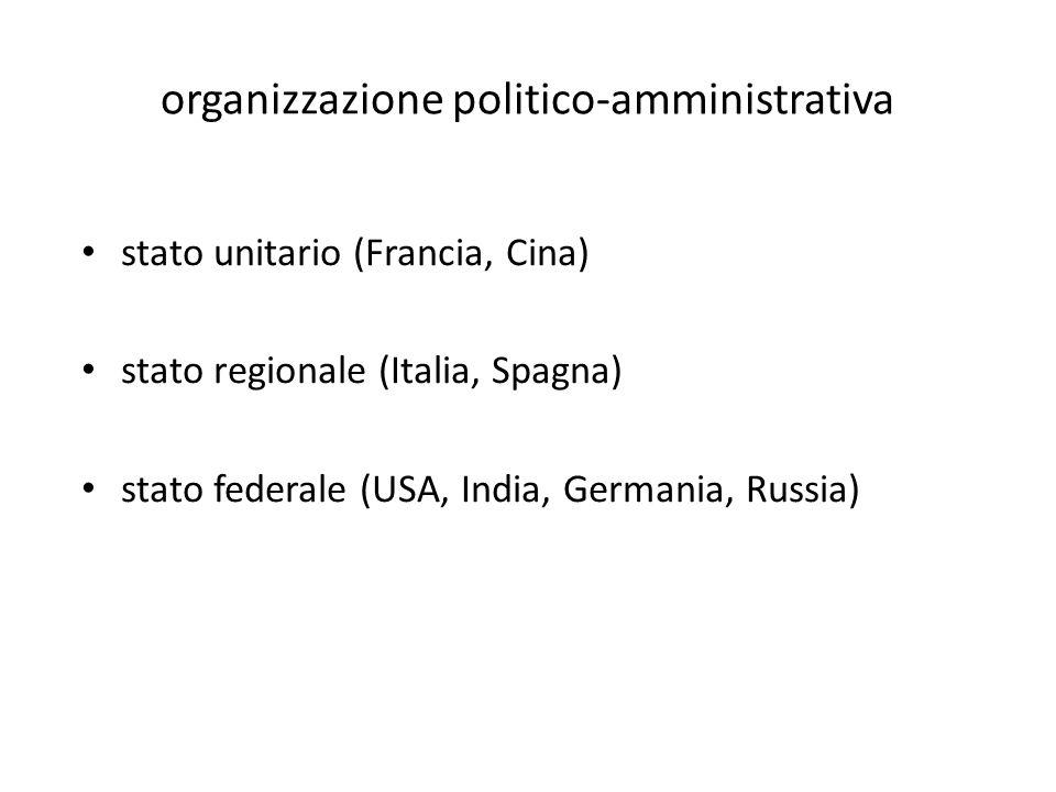 organizzazione politico-amministrativa stato unitario (Francia, Cina) stato regionale (Italia, Spagna) stato federale (USA, India, Germania, Russia)